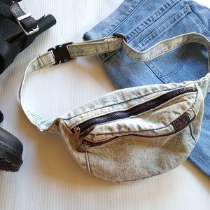 Vintage acid washed denim fanny pack bag